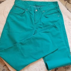 """7 for All Mankind """"The Straight"""" turquoise jeans"""
